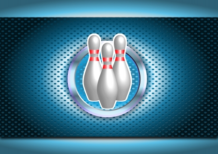 illustration of three bowling pins on chrome background