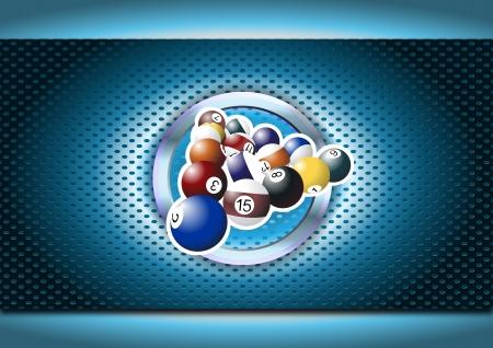 illustration of billiards balls in the chrome ring  イラスト・ベクター素材