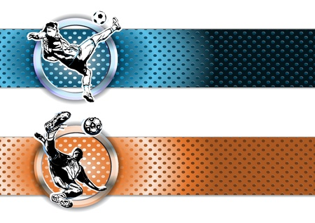 illustration of soccer players on chrome banners Vector