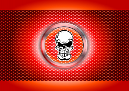 illustration of skull in the chrome ring Vector