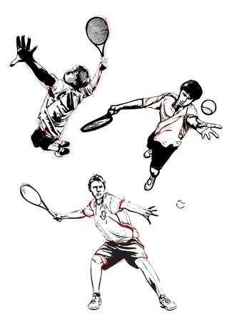 illustratie van drie tennisspelers Stock Illustratie