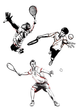 illustration of three tennis players Stock fotó - 20222800