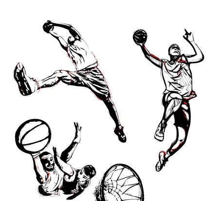 three illustrations of basketball player in action