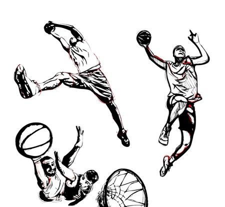 canestro basket: tre illustrazioni di giocatore di basket in azione