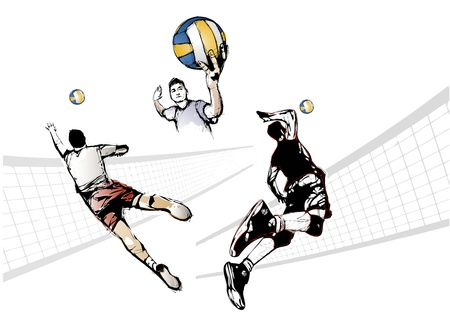 illustration of three volleyball players  イラスト・ベクター素材