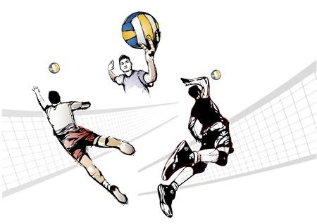 illustratie van drie volleyballers
