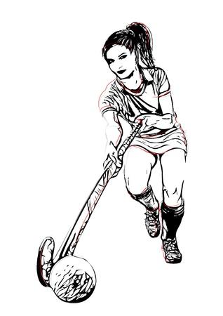 hockey sobre cesped: Jugador de hockey hierba ilustración