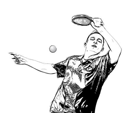 tischtennis: Illustration der Ping-Pong-Spieler auf weißem