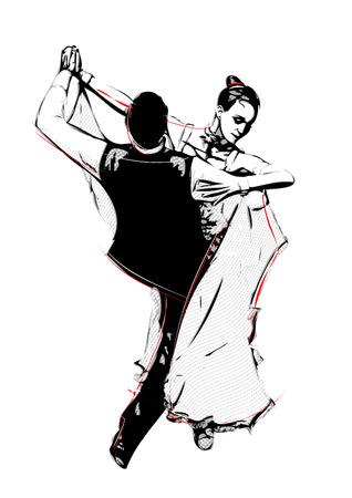 illustratie van latino dansers Stock Illustratie
