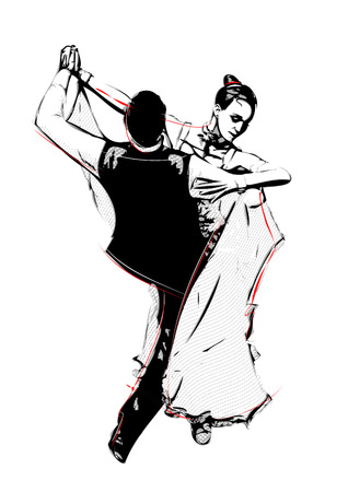 illustration of latino dancers Vector