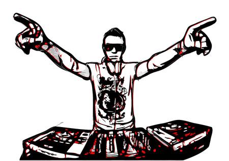 disc jockey: illustration of disc jockey in action Illustration
