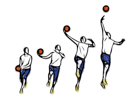 moving activity: basketball throw methodics illustration on white background Illustration