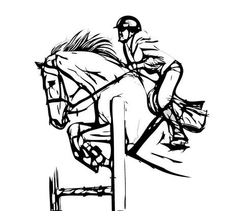 cavallo con fantino illustrazione su bianco Vettoriali