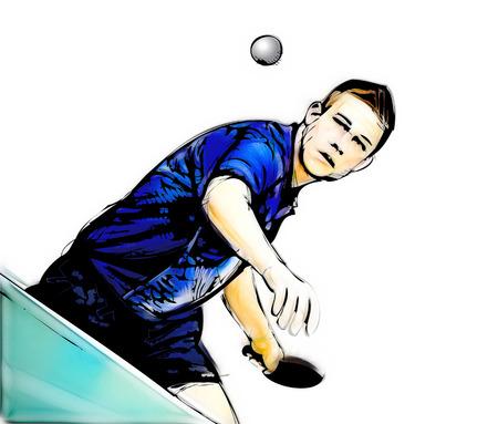 pingpong: Ilustración del jugador de tenis de mesa en el fondo blanco