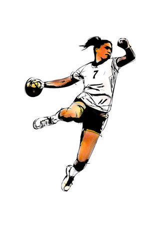 pallamano: donna giocatore di pallamano illustrazione su bianco