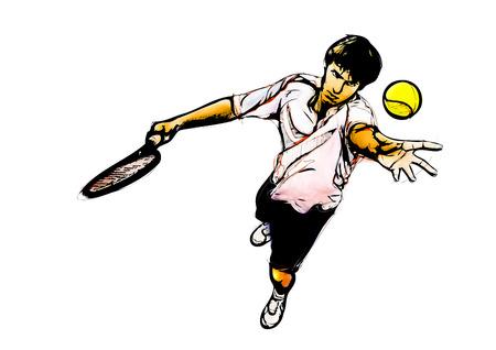 challenger: tennis player illustration on white background Stock Photo