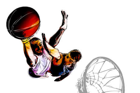 only 2 people: two basketball players in action