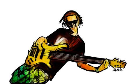 guy playing guitar: guitarist color illustration on white background