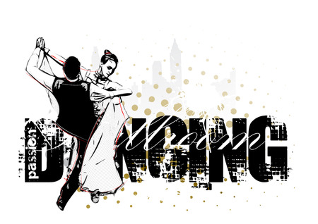 Classic dancing pair silhouette on grunge background Vector
