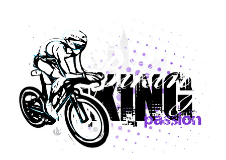 cycling illustration on grungy background