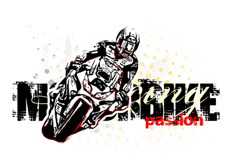 motorbike illustration on grungy background Illustration