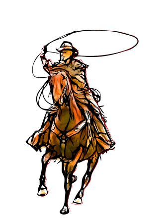 cowboy color illustration on white background illustration