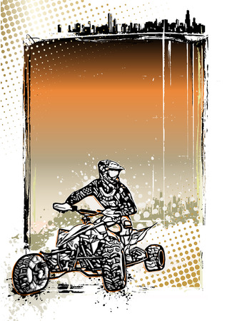 quad: quad bike illustration on grungy background