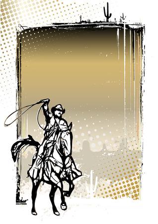 ranger: cowboy illustration on grungy background