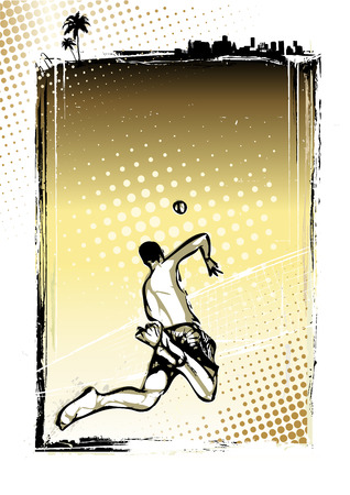 volley ball: beach volleyball player illustration on grungy background
