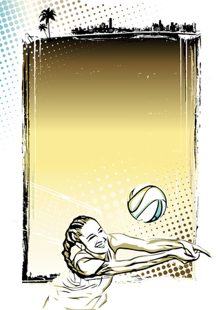 beach volleyball player illustration on grungy  Vector