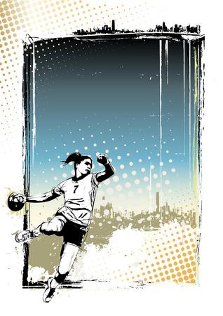 handball player illustration on grungy   イラスト・ベクター素材