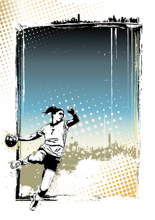 handball player illustration on grungy  向量圖像