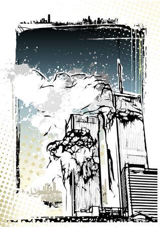 world trade: Ilustraci�n destrucci�n del World Trade Center en el fondo sucio Vectores