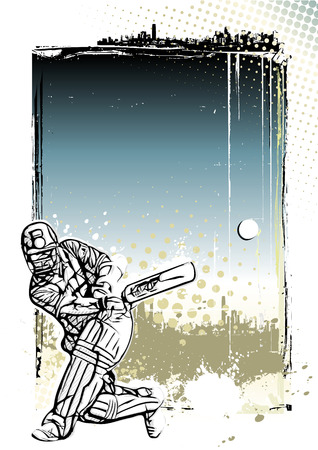 chuck: cricket player illustration on grungy background Illustration