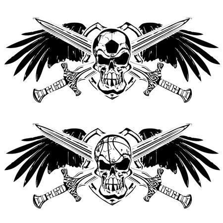 Voetbal en basketbal schedel op schild met vleugels en zwaarden Stock Illustratie