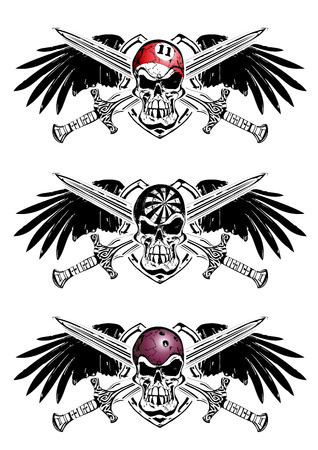 three skull emblems with wings and swords Vector