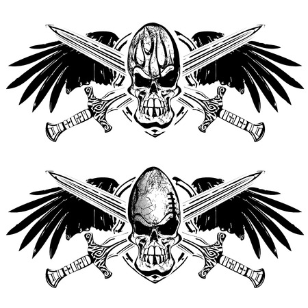 american football and rugby skull on shield with wings and swords Illustration