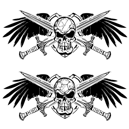 handball and volleyball skulsl on shield with wings and swords Vector
