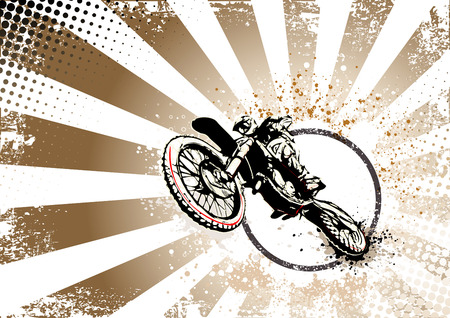 motocross illustration on retro background Vectores
