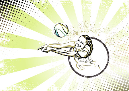 beach volley: beach volleyball player vector illustration on grungy background