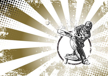 wicket: cricket player illustration on grungy background Illustration