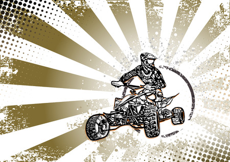 quad bike vector illustration on grungy background Vektorové ilustrace