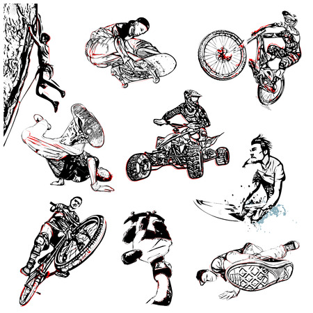 Ilustración deporte extremo en el fondo blanco Foto de archivo - 32522871