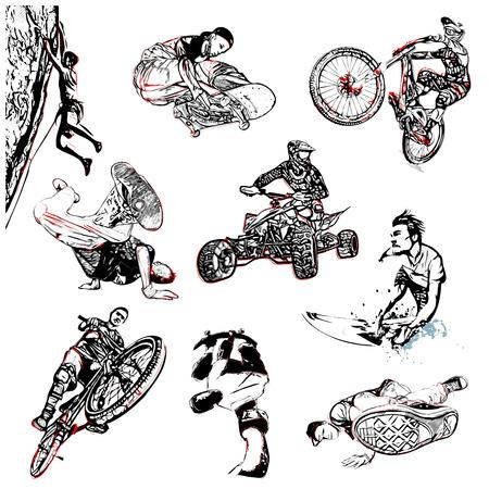 extreme sport illustration on white background Illustration