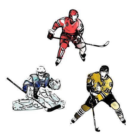 headpiece: ice hockey players illustrations Illustration