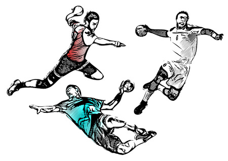 handball players illustrations Vectores