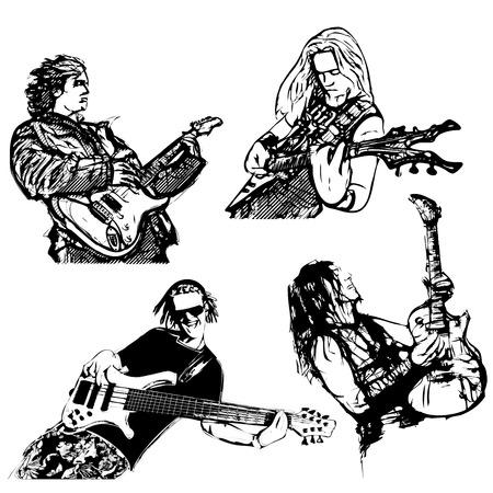 playing guitar: four guitar players players