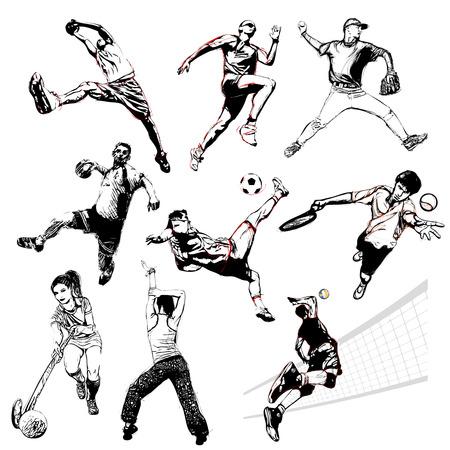 terrain de handball: sport illustration sur fond blanc