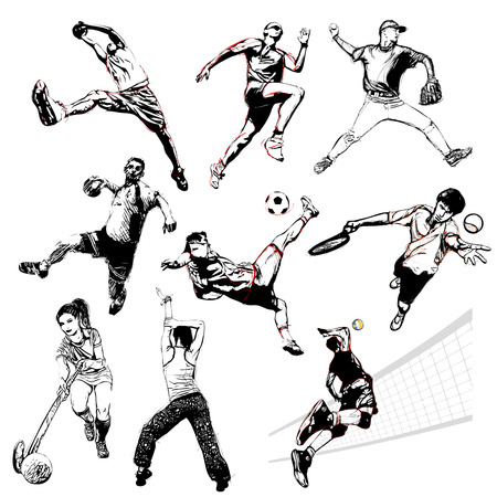women playing soccer: sports illustration on white background