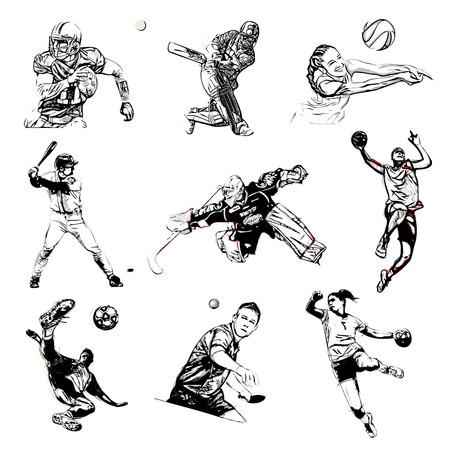 bocetos de personas: ilustraci�n deportes en el fondo blanco